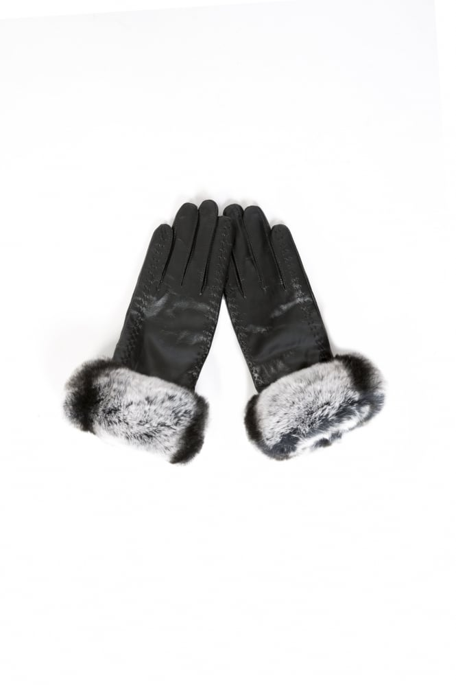 JAYLEY Leather and Chinchilla Fur Gloves