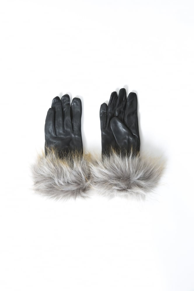 JAYLEY Leather and Faux Fur Gloves