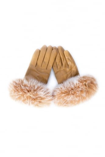 Leather and Fox Fur Gloves