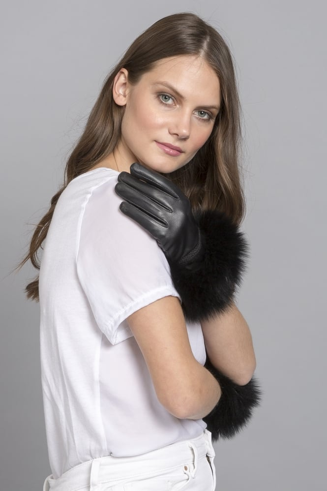 JAYLEY Leather and Fur Gloves