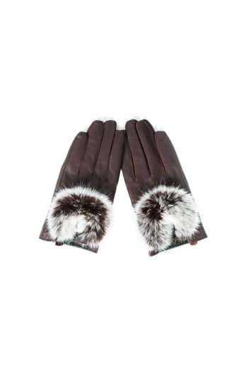 Leather Gloves Fur Trim with Gift Box