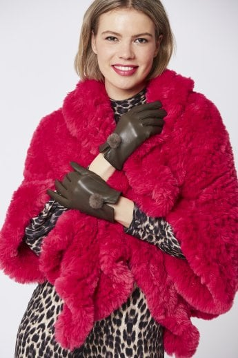 d9145f81578 Leather Gloves with Mink Bobble