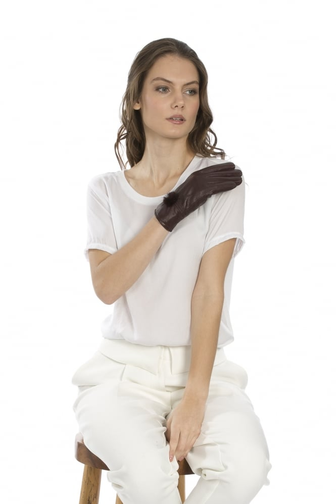 JAYLEY Leather Gloves with Mink Bobble with Gift Box