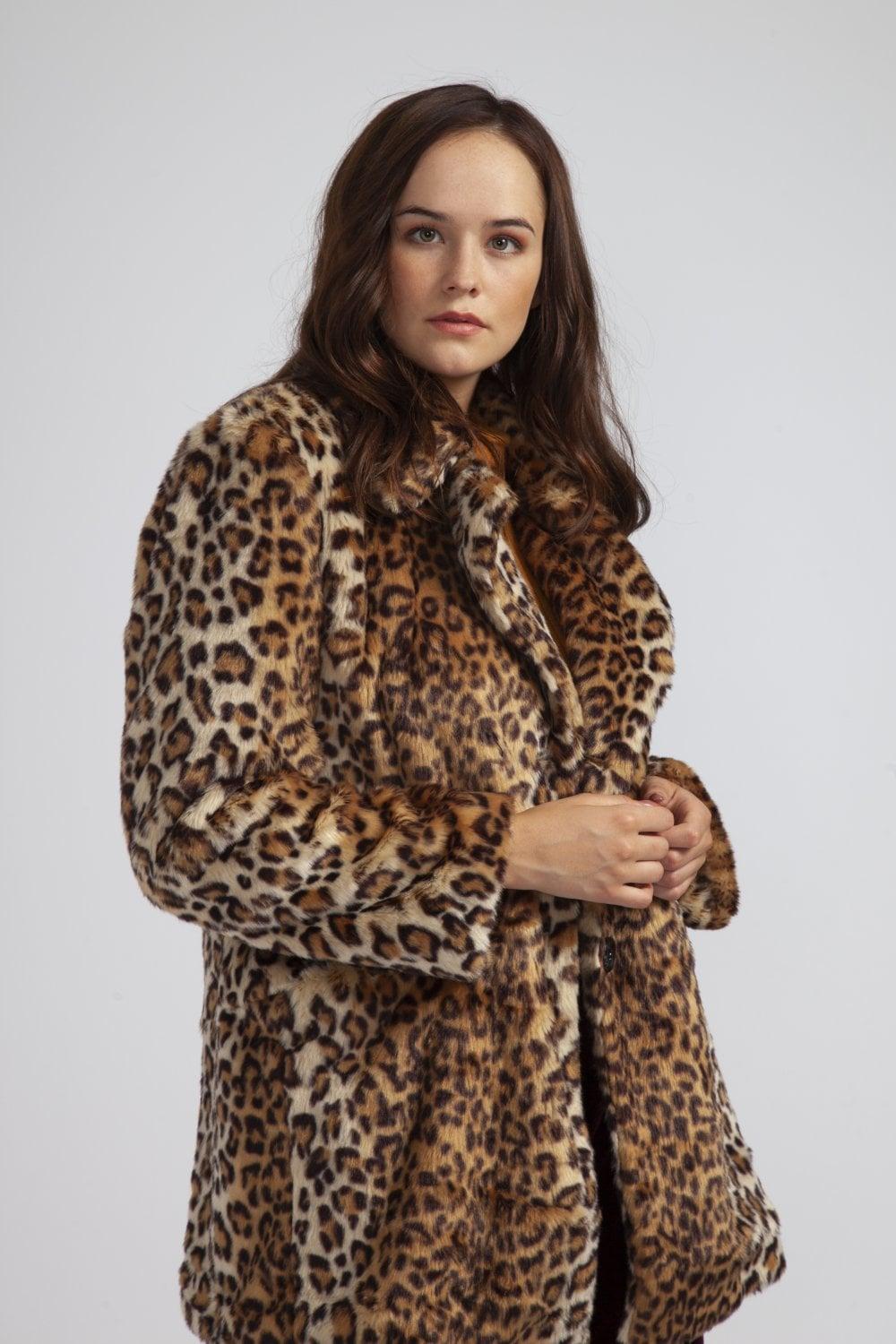 55fb1b55c58 JAYLEY Leopard Print Faux Fur Coat - Womenswear from JAYLEY UK