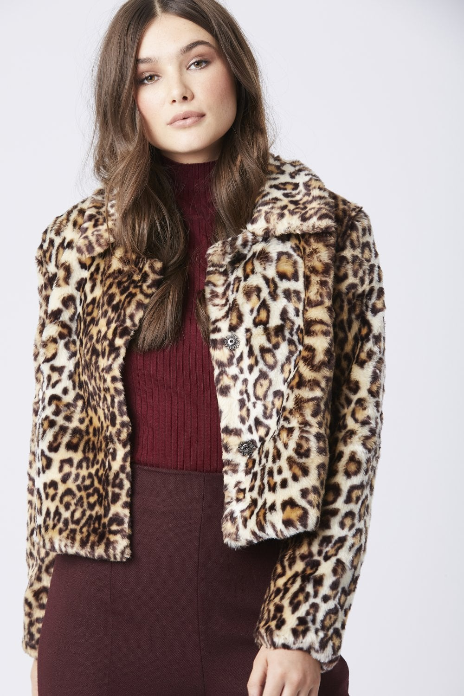 845feaf77 JAYLEY Leopard Print Faux Fur Jacket