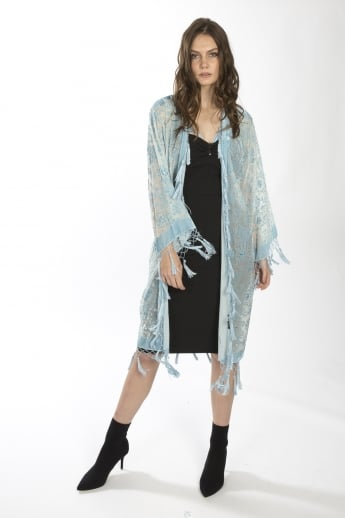 Light Silk Devore Long Jacket