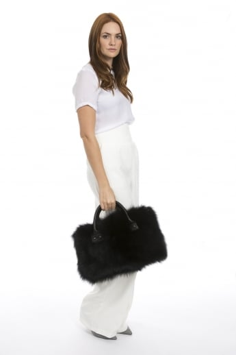 Limited Silver Fox Fur Tote Bag