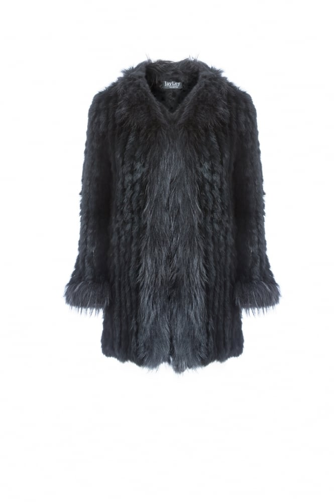 JAYLEY Long Fox and Coney Fur Jacket