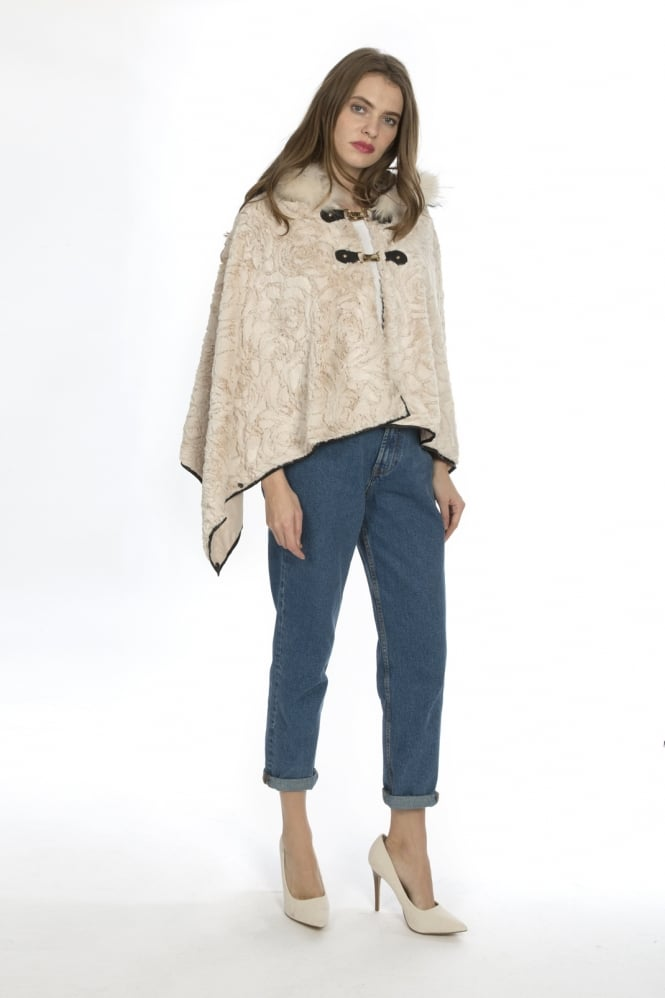 JAYLEY Luxury Faux Fur Poncho
