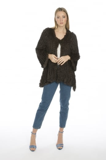 Mid Length Asymmetrical Fur Jacket