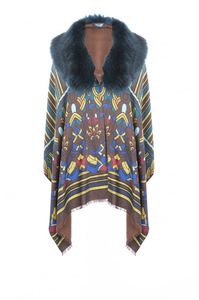 JAYLEY Patterned Cashmere and Faux Fur Wrap