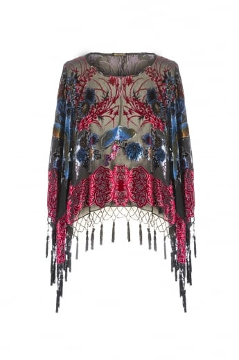 Patterned Silk Devore Poncho