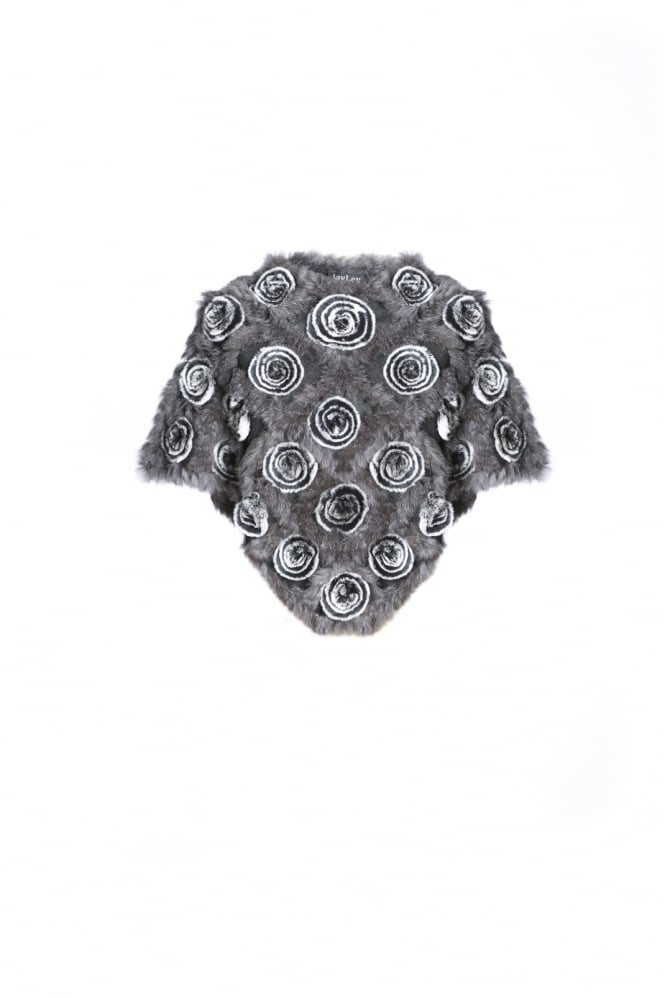 JAYLEY Poncho with Fur Rosette