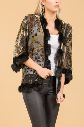 Pure Silk Devore Jacket with Fur