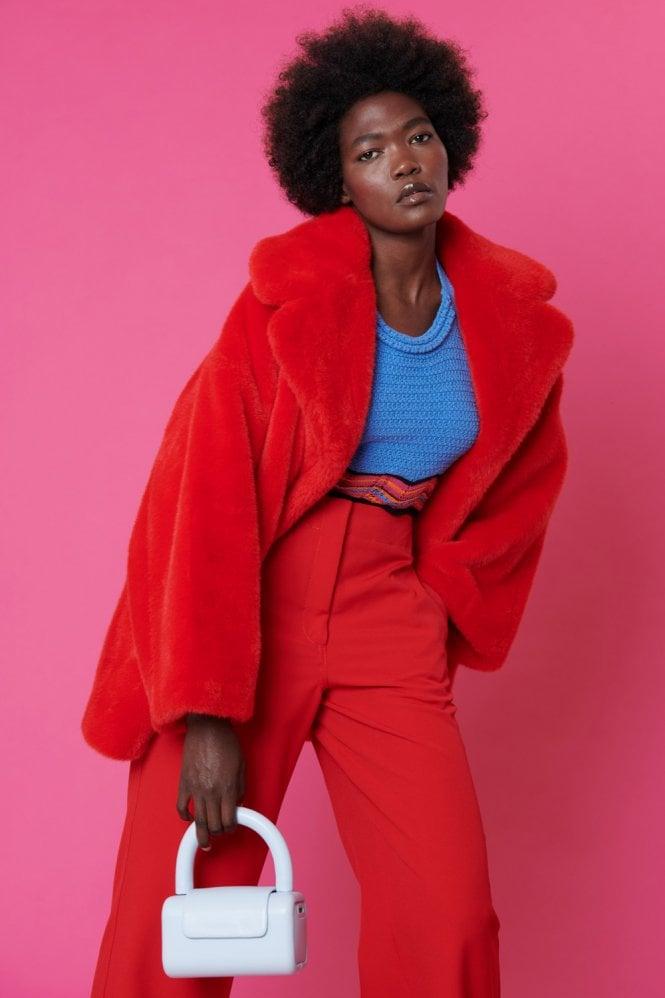 Jayley Red Faux Sable Fur Coat, Red Faux Fur Coat Uk