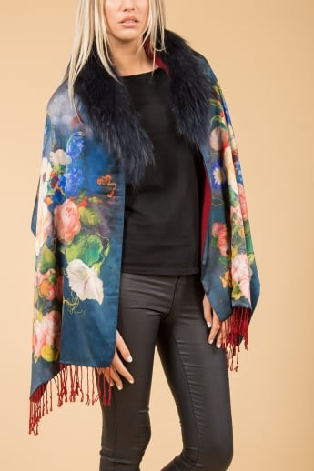 Silk and Cashmere Floral Wrap with Fur Collar
