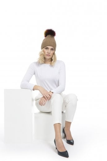 Silk and Cashmere Fox Fur Pom Pom Hat