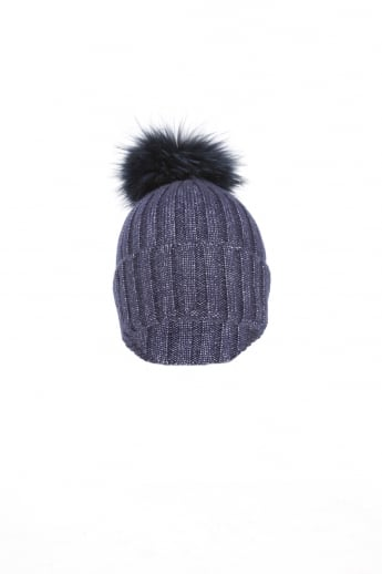 Silk and Wool Fox Fur Pompom Hat