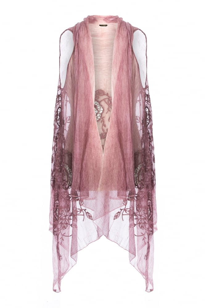 JAYLEY Silk Blend Embroidery Cape