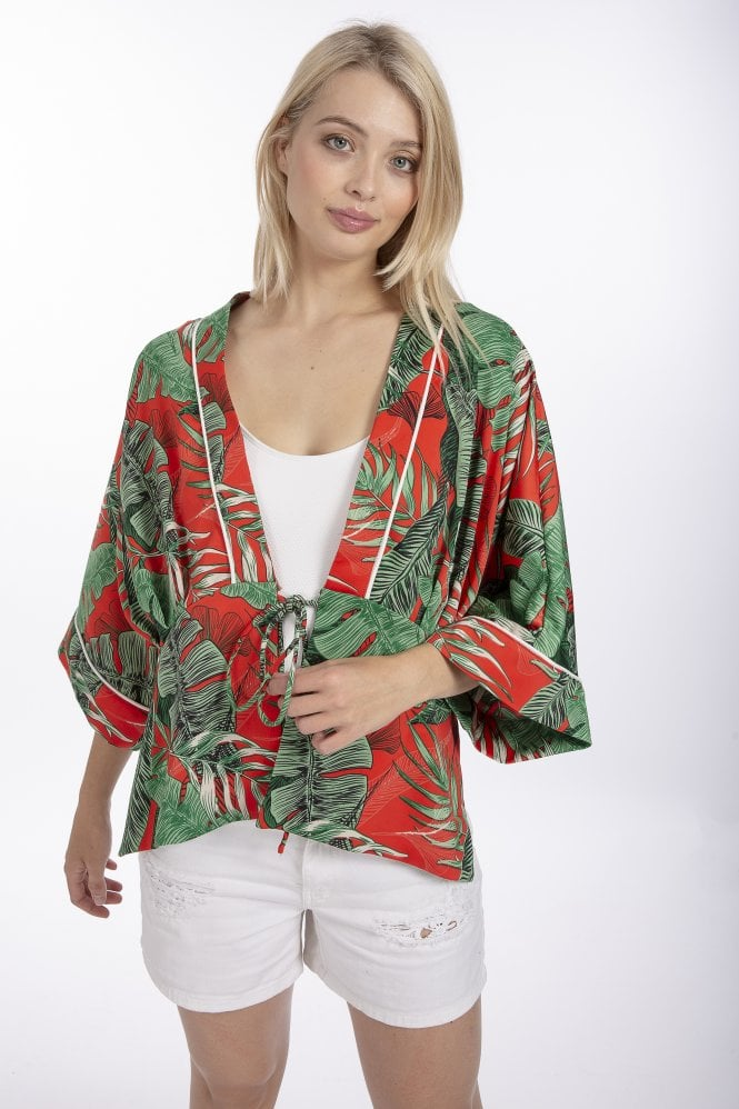 JAYLEY Silk Blend Palm Print Jacket