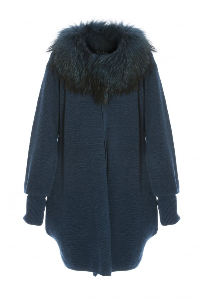 JAYLEY Silk Cashmere Fox Fur Collar Cape