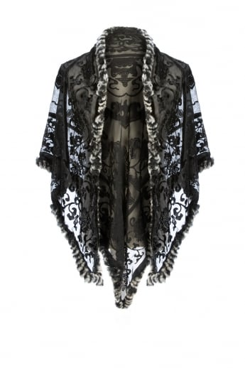 Silk Devore and Fur Wrap