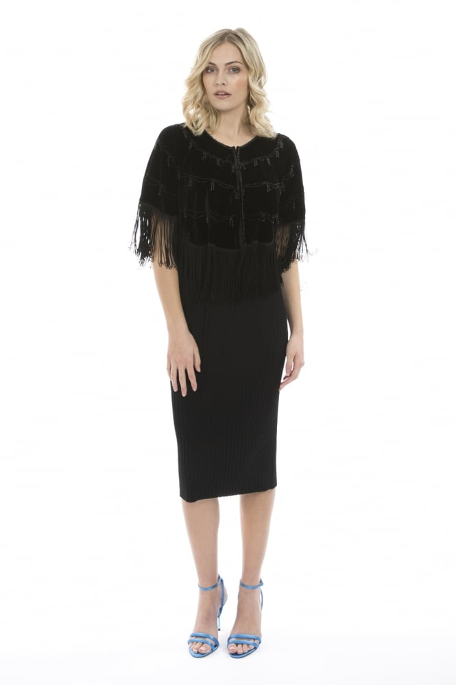 JAYLEY Silk Devore Cape with Statement Fringe