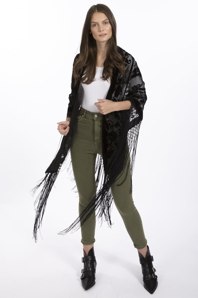 JAYLEY Silk Devore Cape with Tassels