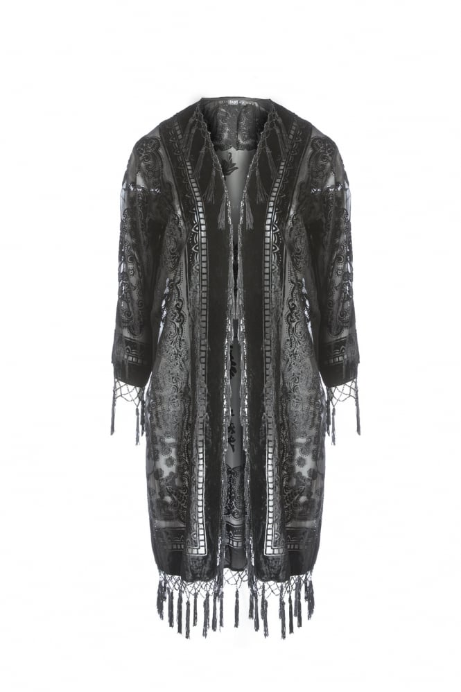 JAYLEY Silk Devore Long Jacket