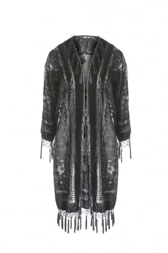 Silk Devore Long Jacket