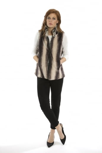 Striped Faux Fur Gilet