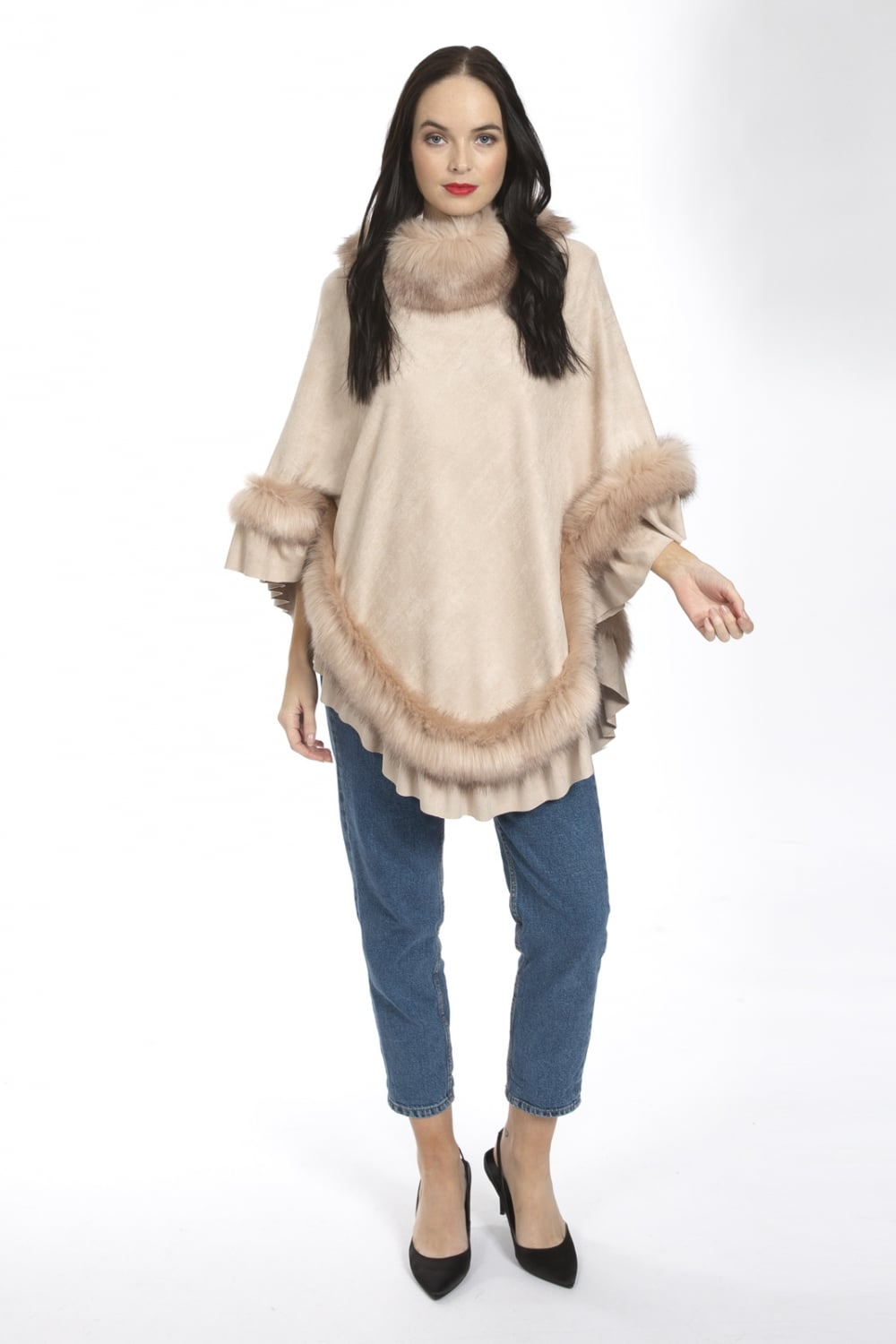 Luxury Womens Suedette and Faux Fur Poncho