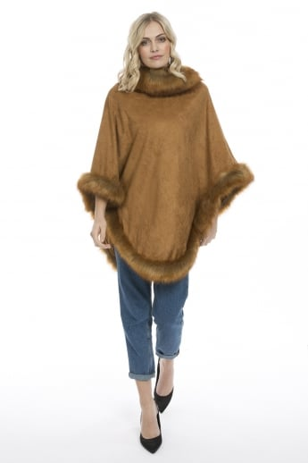 Suedette and Faux Fur Poncho