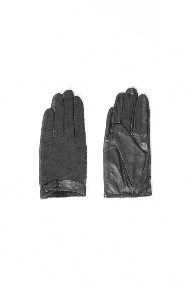 JAYLEY Touch Screen Leather and Cotton Gloves