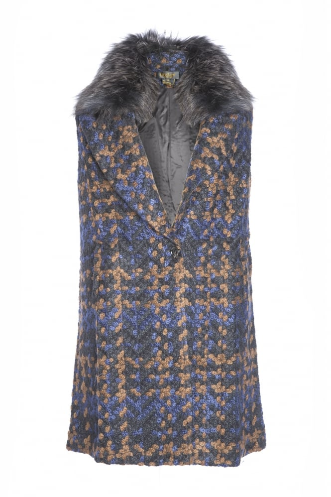 JAYLEY Tweed Gilet with Fur Collar