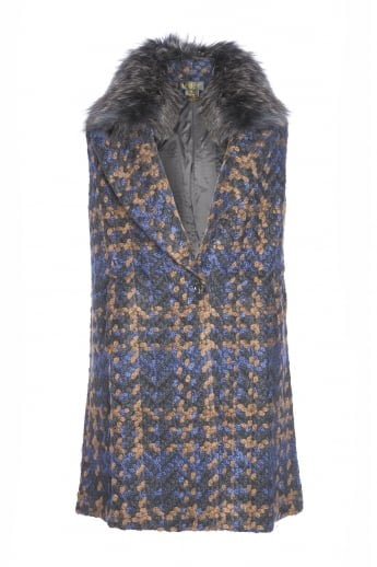 Tweed Gilet with Fur Collar