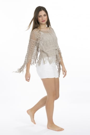 Vintage Lace Cotton short Kaftan