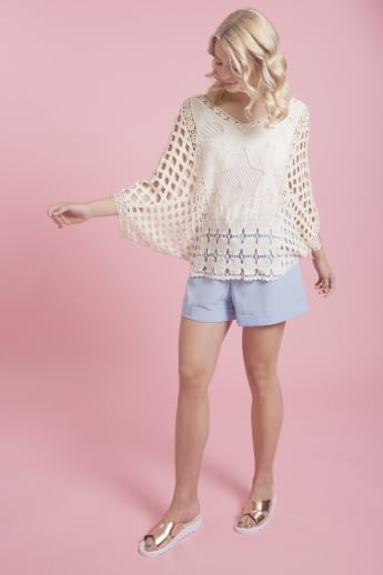 Vintage Lace Embroidered Short Kimono