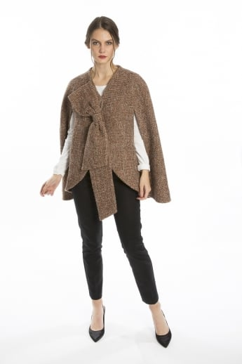 Wool Blend Tweed Cape