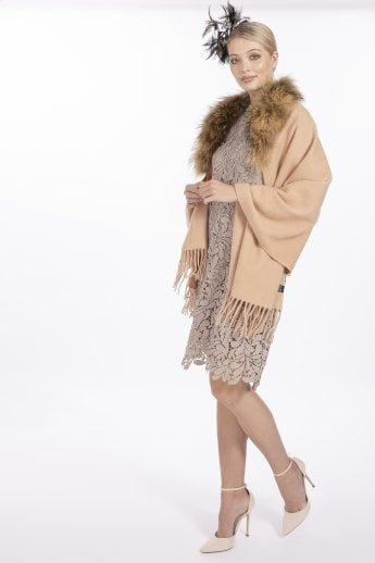 Wool Wrap with Fox Fur Collar