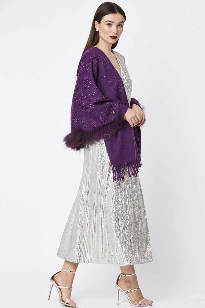 JAYLEY Wool Wrap with Fox Fur Collar