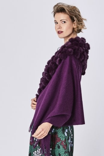 Wool Wrap with Fur Pom Poms