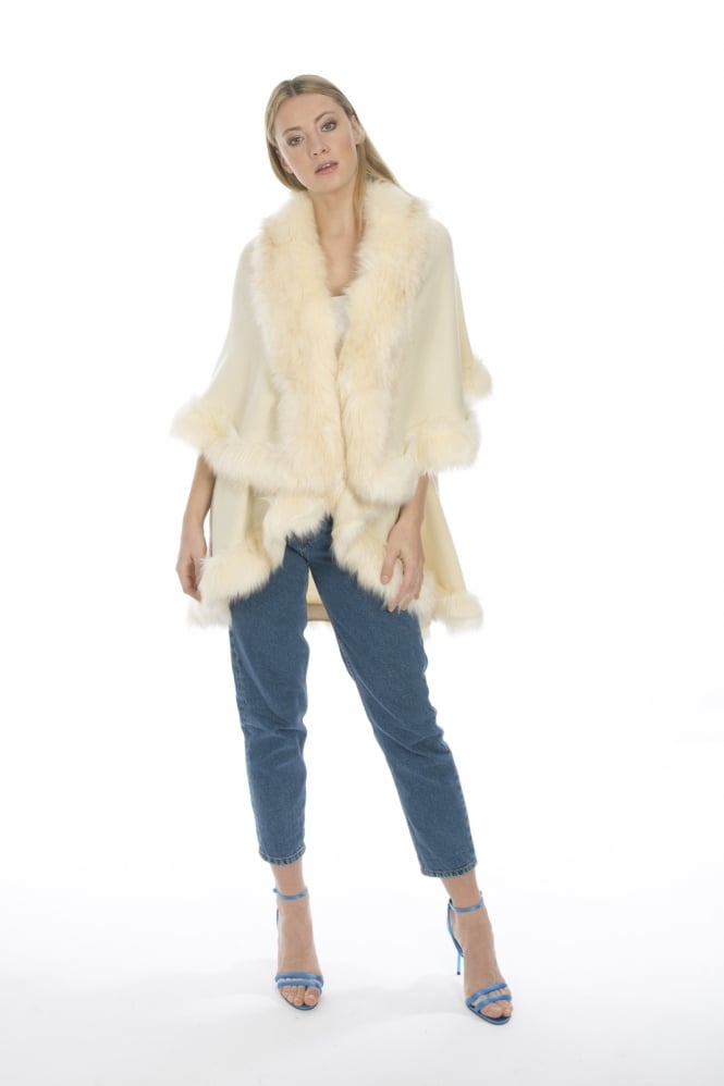 JAYLEY Wrap with Faux Fur Trim