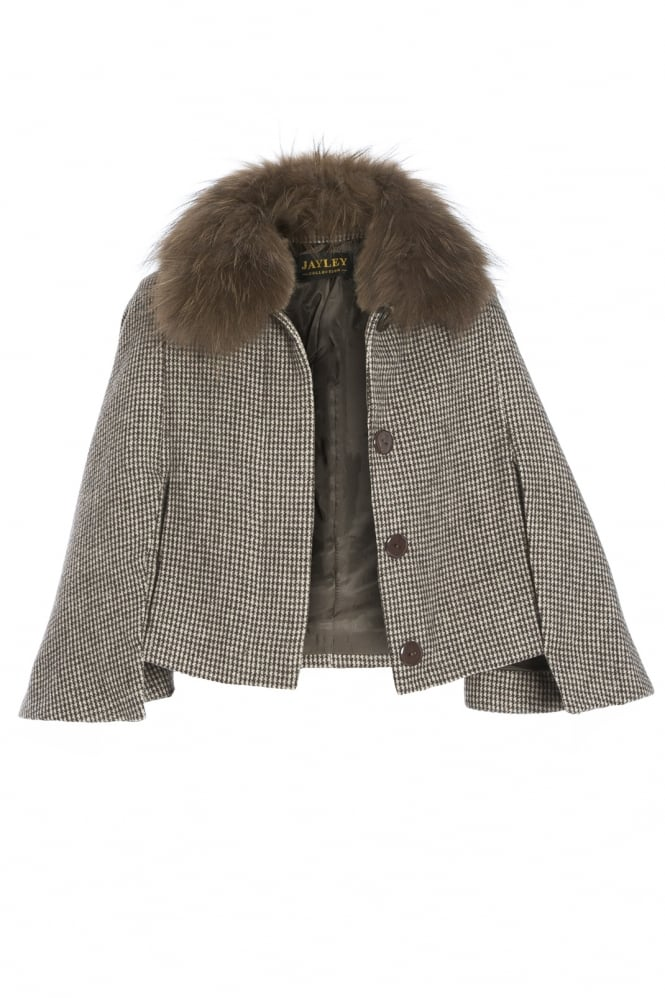 Tweed Fox Fur Cape Jacket